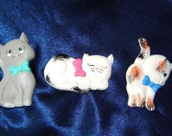 Set of 3 Cat Magnets - Group 1 - Ceramic Magnets - Refrigerator Magnets