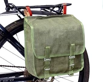 Ex-Army Showerproof Canvas Pannier Bag from 1980s vintage green large bike spacious rainproof NOS