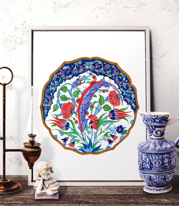 Traditional Ottoman Tulip Watercolor Wall Art Turkish Floral: Traditional Turkish Red Tulip And Carnation Watercolor