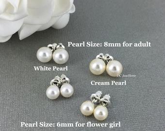Swarovski Pearl Earring, 6mm or 8mm Stud Earrings, Bridesmaids Gifts, Bridesmaid Earrings, Flower Girl Earrings, Sterling Silver Earrings