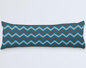 Teal Body Pillow, Chevron Long Pillow, Pillow 20x54, Large Bed Pillow, Blue Cushion Cover, Zig Zag Decorative Pillow, Grey Brown Blue