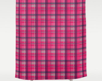 tartan plaid shower curtain large shower curtain pink shower curtain plaid bath curtain