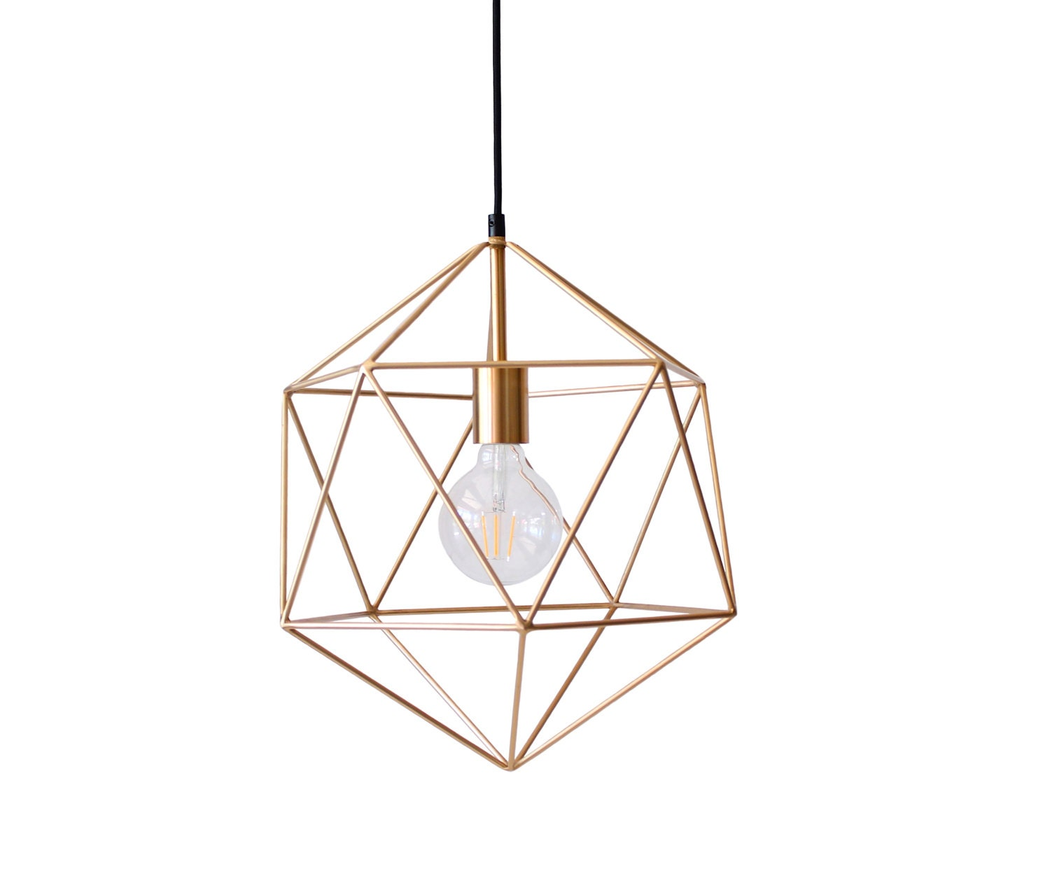 Geometric pendant light handmade hanging light cage polyhedron - Hanging bulb chandelier ...