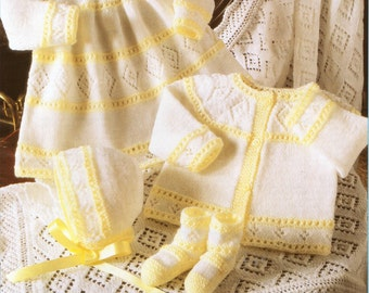 "baby layette knitting pattern pdf dress cardigan bonnet bootees shawl square shawl premature sizes 4 ply layette 12-18"" 4 ply Fingering"