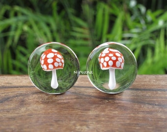 "Magic Mushroom Plugs Pyrex Glass Red with White Spots Clear Back  00g 7/16"" 1/2"" 9/16"" 5/8"" 3/4"" 1"" 5 mm 6 mm 8 mm 9.5 mm 10 mm 12 - 25.4 mm"