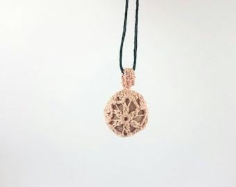 Pink quartz river stone crochet lace pendant, Crochet covered pebble necklace - Adjustable necklace