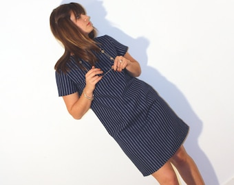 Right Striped Dress Navy Blue and White