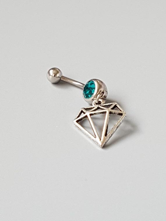 diamond charm belly button ring emerald gemstone navel. Black Bedroom Furniture Sets. Home Design Ideas