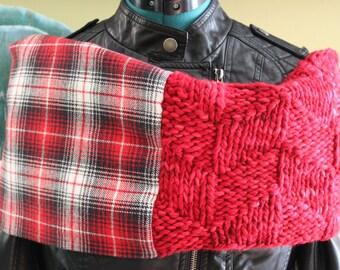 Red Plaid Merino Wool- Highland Cowl