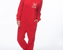 Personalized Candy Cane Fleece Hooded Onesie,  Christmas Onesie,  Adult Candy Cane Pajamas, Adult Christmas Onesie,