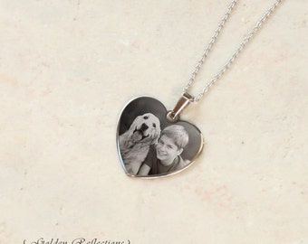 Silver Photo Necklace | Custom Necklace | Heart Photo Pendant - Personalized Necklace | Mother's Day | Christmas Gift | Gift for Grandma