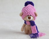 Crochet amigurumi teddy bear in the scarf and hat - small teddy bear, personalized bear gift, teddy bear gift for her MADE TO ORDER