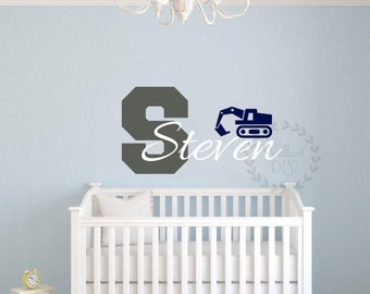 Nursery wall decal Name wall decals Baby boy wall decals Personalized wall decal Truck name wall decals