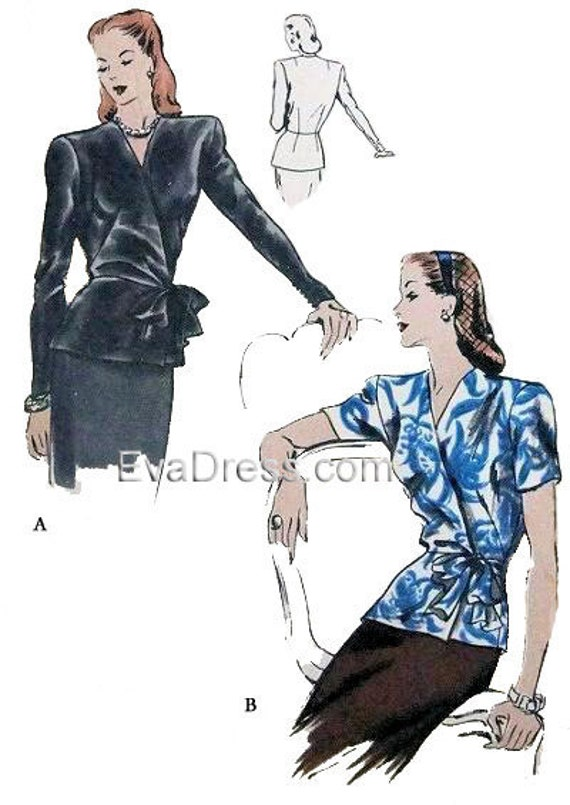 1940s Fabrics and Colors in Fashion 1944 Tunic Blouse Pattern by EvaDress  AT vintagedancer.com