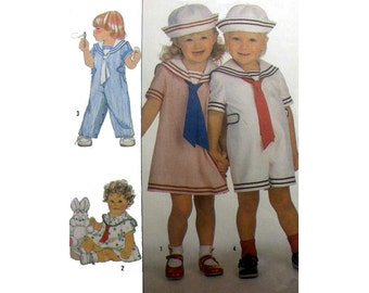 Toddlers Overalls in Long Pants or Shortalls Style, Sailor Dress and Sailor's Hat Pattern Size 2 Uncut Simplicity 9074