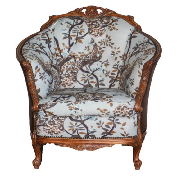 Items similar to Antique Arm Chair Carved and Upholstered ...