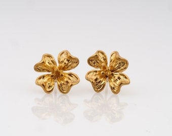 14k solid gold studs,gold flower studs,14k gold flower earrings, 14k solid white or yellow gold, flower stud earrings, flower earrings