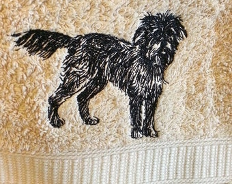 Shaggy dog - mongrel -  embroidered hand towel