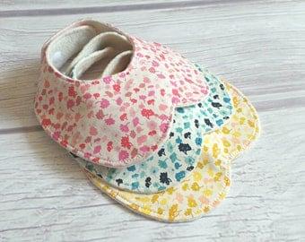 Delicate Blooms Bib Set / Baby Bib / Peter Pan Collar Bib / Toddler Bib / Drool Bib / Organic Fleece / Pink, Blue and Yellow Flowers