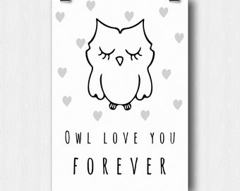 Printable poster - Owl love you forever