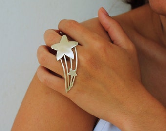 SALE/Two Fingers Ring, Star Ring, Art Rings, Statement Silver Rings, Handmade Boho Rings , Fashion ring, Adjustable rings/Valentine gift