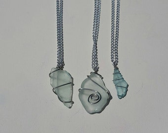 Wire Wrapped Beach Glass Necklace