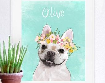 Flower Crown Pet Portrait, Pet Portrait, Custom Pet Portrait, Unique Gifts,  Custom  Pet Poster