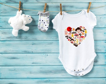 I love Japan baby bodysuit, japan baby bodysuit, cute baby clothes, baby boy clothes, baby girl clothes, baby shower gift, sushi bodysuit
