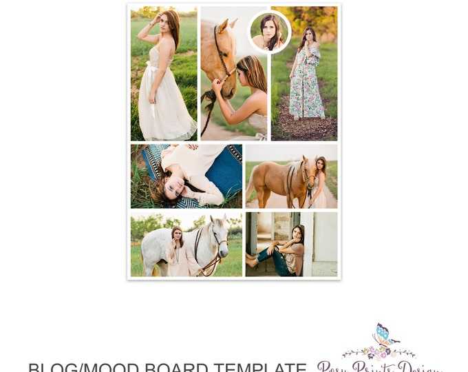 Blog Board & Mood Board - Collage Template - 8.5x11 - Social Media Collage Template - Digital Storyboard - Instant Download - BMB04