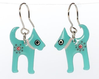Handmade Dog Earrings, Stainless Steel Earrings,Puppy Earrings, Dog Lover Gift, Pet Jewerly, Pet Earrings, Whimsical Quirky Dog Jewelry
