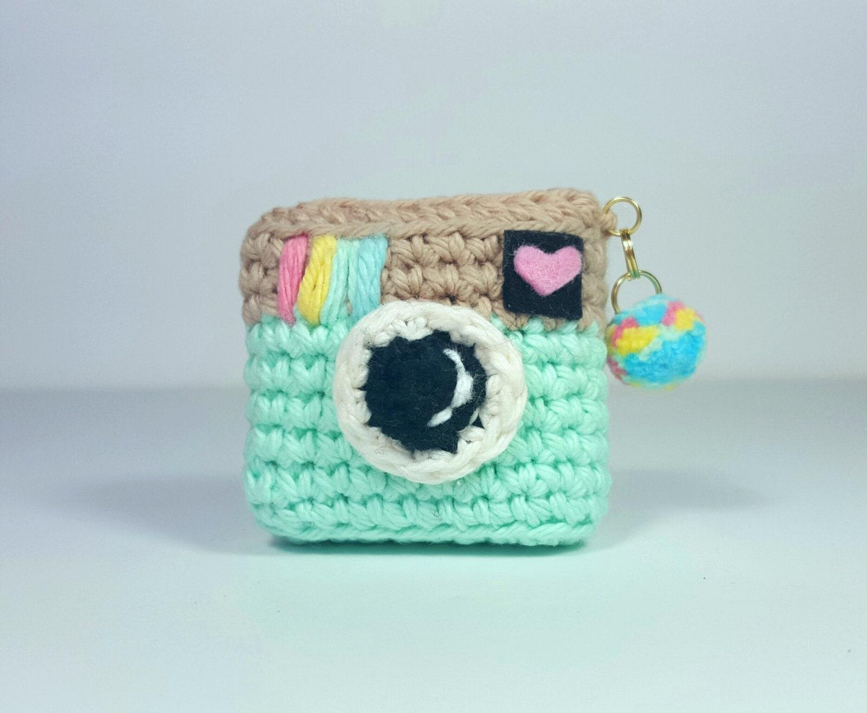Amigurumi Crochet Keychain Planner Accessories Vintage Camera