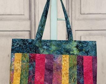 Tall Tote Bag, Multicolored Batik Fabrics