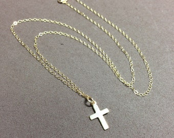 Gold cross pendant  on gold filled chain cross necklace gift for women religious jewelry