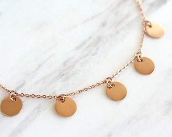 ON SALE // 5 Coin Drop Necklace Rose Gold Five Coin Drop Necklace Mimi Ikonn Necklace Disc Drop Necklace Tiny Gold Disc Necklace Bridesmaid