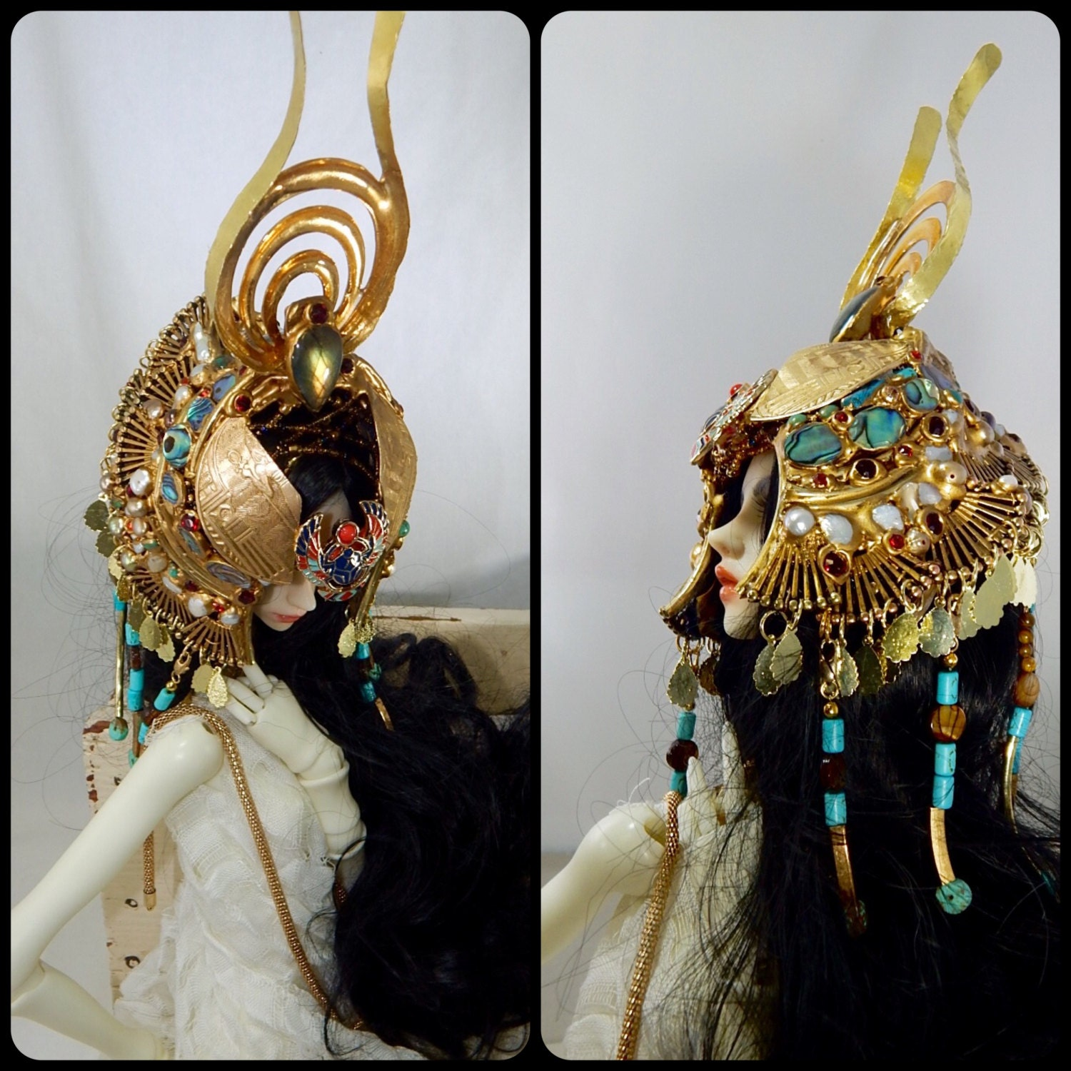 Zahra OOAK Egyptian Headdress Crown For BJD Doll Sizes