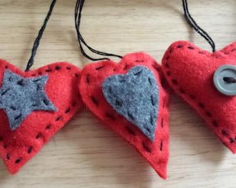Trio of mini felt hanging hearts.