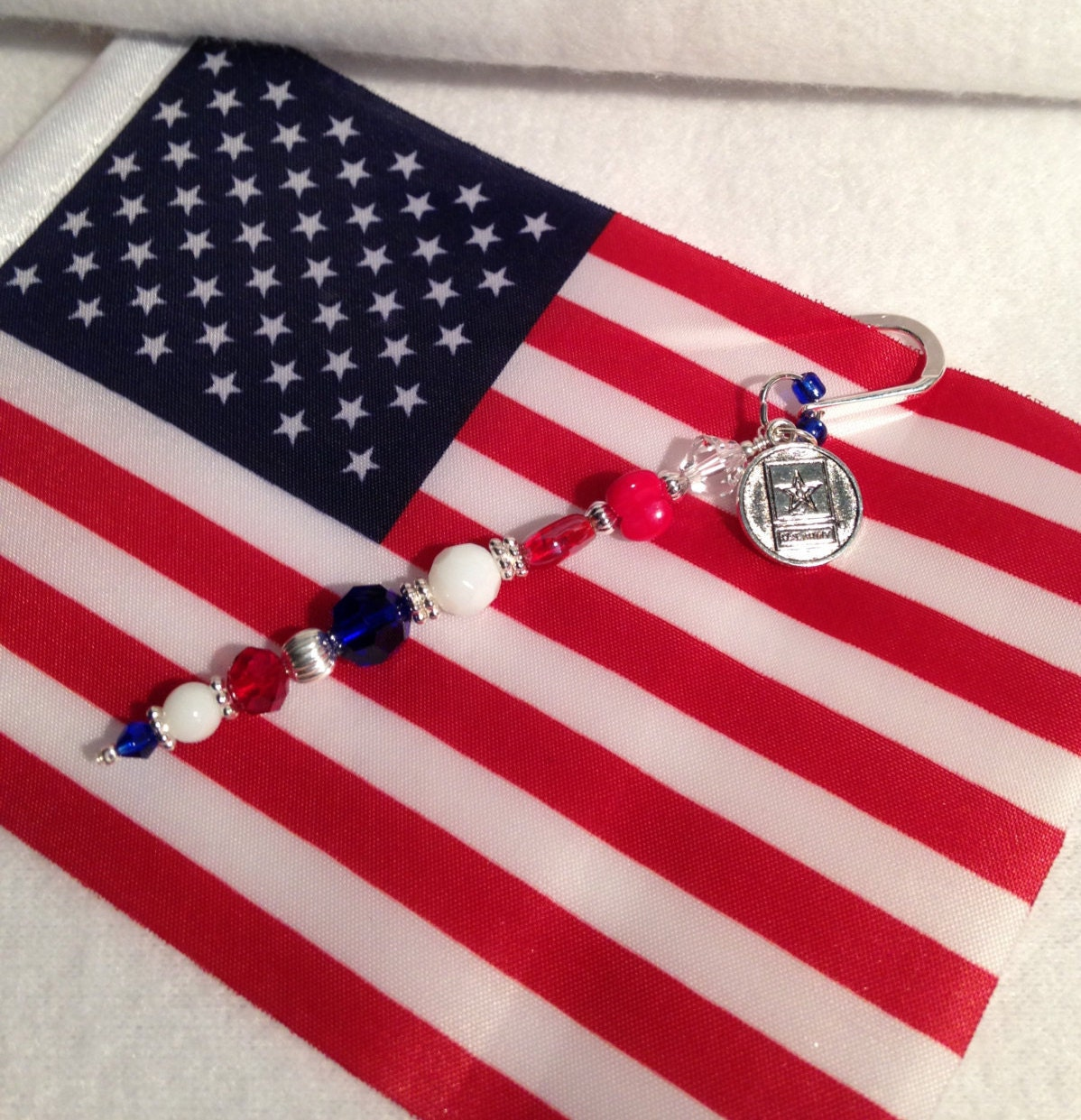 patriotic red white blue book mark with us army charm. Black Bedroom Furniture Sets. Home Design Ideas
