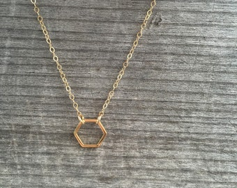 Tiny Open Hexagon Necklace -Gold Necklace -Modern Necklace- Gold Hexagon Necklace - Gold Necklace - Simple Necklace - Stocking Stuffer