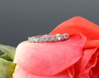 14k White Gold Halfway Diamond Wedding Band, Bezel Set Wedding Ring (available in rose gold, yellow gold and platinum)