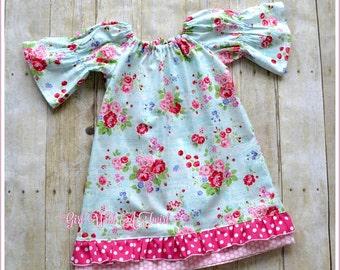 Girls Peasant Dress, Toddler Dress, Baby Girl Dress, Ruffled Peasant Dress, Girls Fall Dress, Back To School Outfit, Long Sleeve Dress