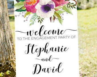 Engagement party welcome sign, welcome to our engagement, printable welcome sign, welcome sign, engagement welcome sign, gold welcome sign