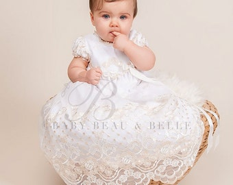 Gwen Cotton Christening Gown, Champagne Baptism Gown for Girls