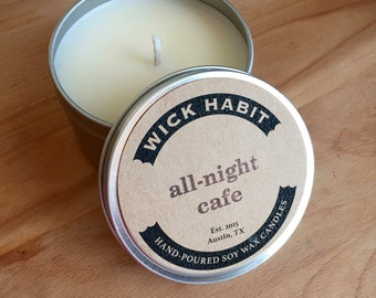 All-Night Cafe Soy Candle // Gingerbread Pancakes, Maple Syrup, and Coffee