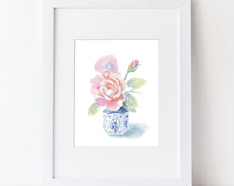 Watercolor Flower Bouquet - Rose Watercolor Art Print -Modern Floral Art Home Decor - Kitchen art