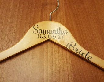 PERSONALISED wooden wedding dress hangers Natural, custom wedding hangers with name, date and title