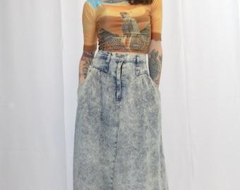 Vintage 1980's Koyo Acid Wash Jean Skirt front pockets/ Acid Wash Denim Skirt 100% Cotton Made in the USA/ Punk Grunge Acid Wash Jean Skirt