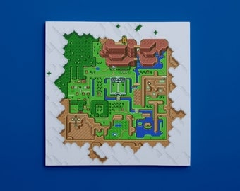 "Legend of Zelda: A Link to the Past, Map of Hyrule (10"" x 10"") - Canvas Wrap Print"