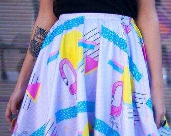 IN STOCK | Flamingo sunrise skater skirt in pastel colors with extra large white pom poms | retro style pattern print skirt