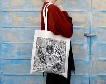 Hand Printed lino fish tote bag art tote bag pisces sea tribal fish sea waves design .