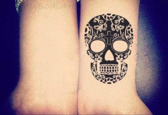 Skull Henna Tattoo: Skull Temporary Tattoo Small Wrist Tattoo Black Henna By